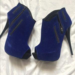 """Blue suede 4"""" heeled peep toe booties"""